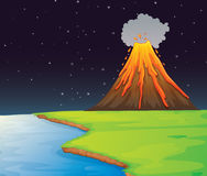 Volcano. Illustration of volcano in the distance Stock Image
