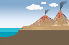Volcano. Illustration vector design. Stock Images