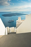Volcano island with cruisers anchored around at Santorini. Greece Stock Images