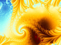 Volcano island fractal. A spiral fractal with vivid yellow, blue and brown colors, resembling a volcano on an island. Suitable as a computer background or for Royalty Free Stock Photo