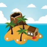Volcano island hut palm starfish vacations seaside Royalty Free Stock Image