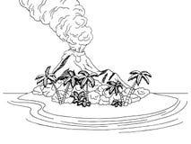 Volcano island mountain sea graphic art black white sketch landscape illustration. Vector Stock Photography