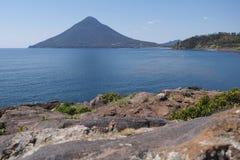 Perfect volcanic cone Kaimon-dake, Japan stock photo