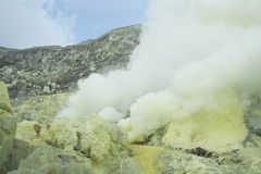 Volcano - Kawah Ijen - East Java. Inside the Volcanic Crater - Kawah Ijen stock photography