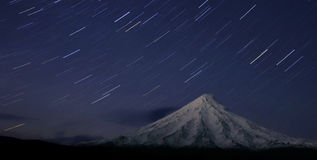 Volcano Kronotsky at night Royalty Free Stock Photo