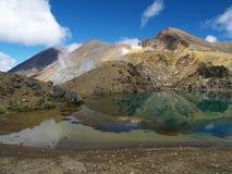Volcano and lake. Emerald lake near volcano in new zealand Stock Image