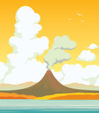 Volcano, lake, clouds. Autumn landscape. Autumn  landscape. Natural illustration with active volcano, calm blue lake and cloudy sunset sky Royalty Free Stock Photo