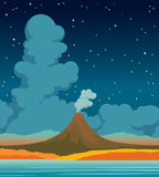 Volcano, lake, forest, clouds and night sky. Autumn landscape. Vector autumn landscape with active volcano, orange forest, calm lake and night starry sky with Stock Photography