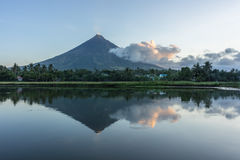 Volcano with a lake at sunrise Royalty Free Stock Photography