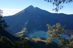 Volcano in lake. Volcano surrounded by lake and larger volcano Royalty Free Stock Image