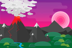 Volcano landscap. Great volcano and mountains landscape flat designe Royalty Free Stock Photo