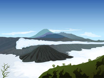 Volcano landscape with cloudy blue sky background Stock Photo