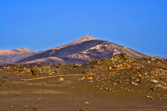 Volcano landscape at sunset, national parc of Timanfaya in Lanza Stock Images