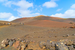 Volcano landscape of Timanfaya National Park Stock Images