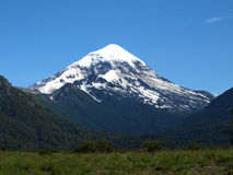 Volcano lanin in the andes Stock Images