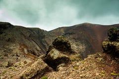 Volcano and lava desert. Lanzarote, Canary islands Stock Photo