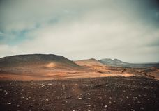 Volcano and lava desert. Lanzarote, Canary islands Royalty Free Stock Images