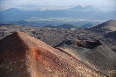 Volcano and lava fields on the Etna Stock Image