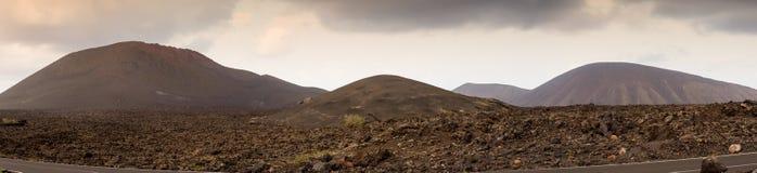 Volcano lava fields panorama, Lanzarote, Spain Stock Photo