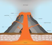 Volcano and lava infographic. On white background vector illustration