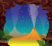 Summer night landscape - volcano, cave, fern. Prehistoric nature Stock Image