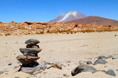Volcano Licancabur and Laguna Verde Royalty Free Stock Photography