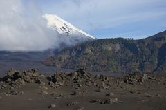 Volcano Llaima in Conguillio National Park, southern Chile stock photography
