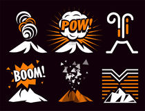 Volcano magma eruptio icon collection. Spectacular natural phenomenon painted in cartoon style set. Volcanic toxic. Clouds and mountain logo. Graphic anger Stock Photo