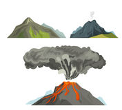 Volcano magma nature blowing up with smoke volcanic eruption lava mountain vector illustration. Vulcan activity fire and smoke elements hot magma crater active Royalty Free Stock Image