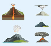 Volcano magma nature blowing up with smoke volcanic eruption lava mountain vector illustration Stock Photo