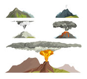 Volcano magma nature blowing up with smoke volcanic eruption lava mountain vector illustration. Vulcan activity fire and smoke elements hot magma crater active Stock Photos