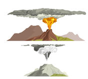Volcano magma nature blowing up with smoke volcanic eruption lava mountain vector illustration. Vulcan activity fire and smoke elements hot magma crater active Royalty Free Stock Photos