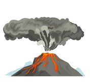 Volcano magma nature blowing up with smoke volcanic eruption lava mountain vector illustration. Vulcan activity fire and smoke elements hot magma crater active Royalty Free Stock Photo
