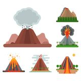 Volcano magma vector nature blowing up with smoke crater volcanic mountain hot natural eruption earthquake illustration. Volcano magma vector nature blowing up Stock Photo