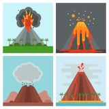 Volcano magma vector nature blowing up with smoke crater volcanic mountain hot natural eruption earthquake illustration. Volcano magma vector nature blowing up Royalty Free Stock Images