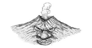 Volcano Man Fuming Erupting Drawing Stock Image