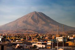 Volcano Misti with Arequipa in Peru closer Royalty Free Stock Photo