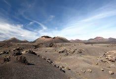 Volcano Montana del Cuervo i Lanzarote Arkivbild