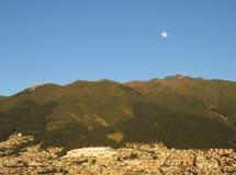 Volcano with the Moon Stock Photo