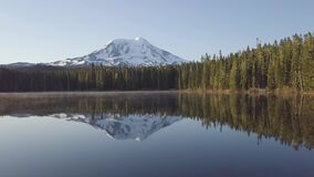 Volcano Mount Adams at Sunrise with Smooth Lake Reflection. Washington State, Great Northwest, United States of America. Mountain