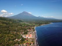 Volcano mount Agung in Bali in Indonesia stock photo