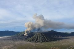 Volcano Mount Bromo Eruption, East Java Indonesia. To be reputed to be one of the most beautiful landscape in the world Stock Image