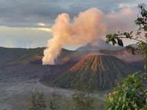 Volcano Mount Bromo Eruption, Java Indonesia orientale immagini stock