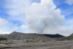 Volcano Mount Bromo Eruption, Ost-Java Indonesia Stockbild