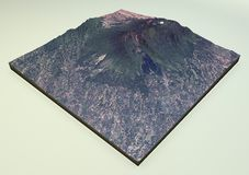 Volcano Mount Galunggung satellite view Royalty Free Stock Images