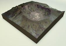Volcano Mount Tambora satellit- sikt Arkivfoto