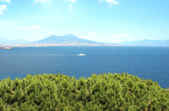 Volcano Mount Vesuvius and the Mediterranean Sea Stock Images