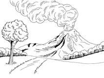 Volcano mountain hill road graphic art black white sketch landscape illustration. Vector Stock Photography