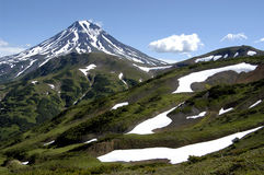 Volcano and mountains of Kamchatka stock photo