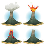 Volcano Mountains Set Stock Images